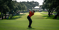 Sergio Garcia (ESP) plays his 2nd shot on the 18th hole during Monday's storm delayed Final Round 3 of the Andalucia Valderrama Masters 2018 hosted by the Sergio Foundation, held at Real Golf de Valderrama, Sotogrande, San Roque, Spain. 22nd October 2018.<br /> Picture: Eoin Clarke | Golffile<br /> <br /> <br /> All photos usage must carry mandatory copyright credit (&copy; Golffile | Eoin Clarke)