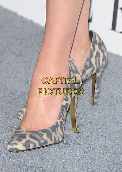 Cobie Smulders' shoes.18th Annual ELLE Women in Hollywood celebration held at The Four Seasons in Beverly Hills, California, USA..October 17th, 2011.feet heels detail grey gray beige leopard print shoes .CAP/RKE/DVS.©DVS/RockinExposures/Capital Pictures.