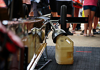 Jun 2, 2018; Joliet, IL, USA; Detailed view of a nitro fuel container and funnel for the dragster of NHRA top fuel driver Leah Pritchett during qualifying for the Route 66 Nationals at Route 66 Raceway. Mandatory Credit: Mark J. Rebilas-USA TODAY Sports