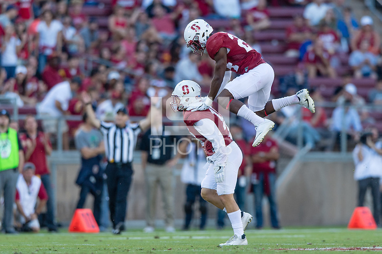 Stanford, CA - September 17, 2016: Zach Hoffpauir Quenton Meeks during the Stanford vs USC football game at Stanford Stadium. The Cardinal defeated the Trojans 27-10.