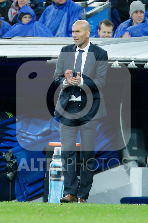 Real Madrid´s new coach Zinedine Zidane during 2015/16 La Liga match between Real Madrid and Deportivo de la Coruna at Santiago Bernabeu stadium in Madrid, Spain. January 09, 2015. (ALTERPHOTOS/Victor Blanco)