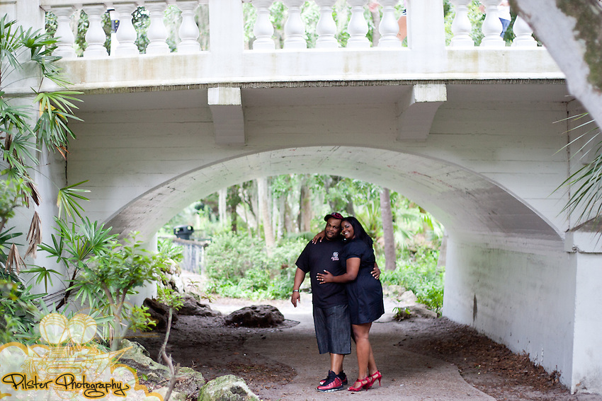 Christinia Lewis and Trevor DeLaney during an engagement session on Sunday, August 28, 2011, at Dickson Azalea Park in Orlando, Florida. They also went to the Plaza Theater and Lake Greenwood park. (Chad Pilster for Pilster Photography http://www.PilsterPhotography.net)