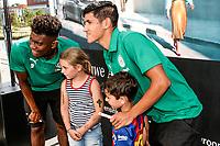 GRONINGEN - Voetbal, Opendag FC Groningen, seizoen 2018-2019, 05-08-2018, FC Groningen speler Mateo Cassierra en FC Groningen speler Uriel Antuna
