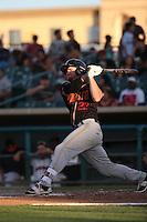 Shane Hoelscher (22) of the Modesto Nuts bats against the Lancaster JetHawks at The Hanger on June 7, 2016 in Lancaster, California. Lancaster defeated Modesto, 3-2. (Larry Goren/Four Seam Images)
