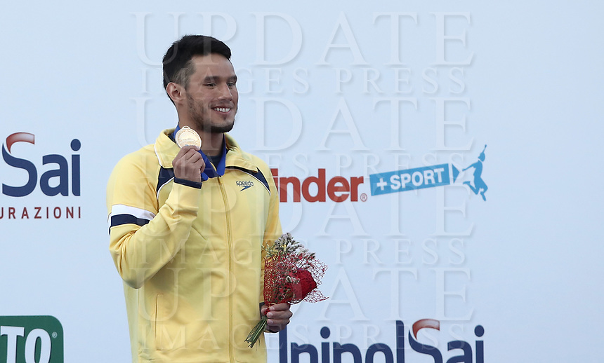 Swimming 55° Settecolli trophy Foro Italico, Rome on June 30, June 2018.<br /> Swimmer Luiz Altamir Melo, of Brazil, shows the gold medal after winning the men's 100 meters Butterfly at the Settecolli swimming trophy in Rome, on June 30, 2018.<br /> UPDATE IMAGES PRESS/Isabella Bonotto