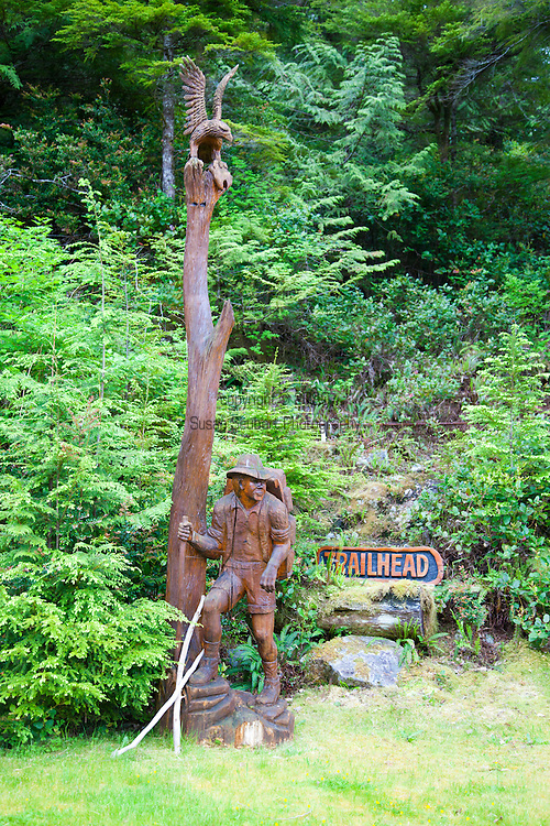 Eagle Nook Wilderness Resort and Spa is located on a remote area of Vancouver Island.  The trailhead to one of the easy loop trails located on the resort property.