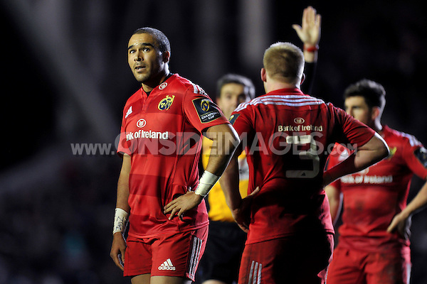 Simon Zebo of Munster Rugby looks on during a break in play. European Rugby Champions Cup match, between Leicester Tigers and Munster Rugby on December 20, 2015 at Welford Road in Leicester, England. Photo by: Patrick Khachfe / JMP