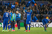 Wilfred Ndidi of Leicester City holds his head at full time during the UEFA Champions League QF 2nd Leg match between Leicester City and Atletico Madrid at the King Power Stadium, Leicester, England on 18 April 2017. Photo by Andy Rowland.