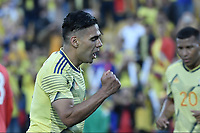 BOGOTA - COLOMBIA, 03-06-2019: Falcao Garcia jugador de Colombia celebra después de anotar el tercer gol de su equipo durante partido amistoso entre Colombia y Panamá jugado en el estadio El Campín en Bogotá, Colombia. / Falcao Garcia player of Colombia celebrates after scoring the third goal of his team during a friendly match between Colombia and Panama played at Estadio El Campin in Bogota, Colombia. Photo: VizzorImage/ Gabriel Aponte / Staff