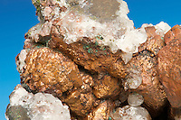 Copper and quartz cystals, Michigan, USA.