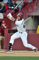 Left fielder Dom Thompson-Williams (42) of the South Carolina Gamecocks bats in a game against the Coastal Carolina Chanticleers on Tuesday, April 5, 2016, at Founders Park in Columbia, South Carolina. South Carolina won, 4-2. (Tom Priddy/Four Seam Images)