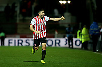 Neal Maupay scorer of Brentford's only goal celebrates at the final whistle during Brentford vs Aston Villa, Sky Bet EFL Championship Football at Griffin Park on 13th February 2019