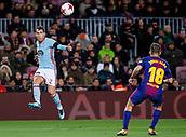 11th January 2018, Camp Nou, Barcelona, Spain; Copa del Rey football, round of 16, 2nd leg, Barcelona versus Celta Vigo; Hugo Mallo of Celta Vigo passes the ball into the box over Jordi Alba