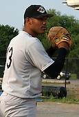 July 2, 2003:  Adam Bostick of the Jamestown Jammers, Class-A affiliate of the Florida Marlins, during a NY-Penn League game at Dwyer Stadium in Batavia, NY.  Photo by:  Mike Janes/Four Seam Images