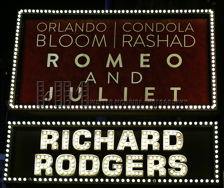 "Theatre Marquee for ""Romeo And Juliet"" On Broadway First Performance Curtain Call at the Richard Rodgers Theatre in New York City on 8/24/2013"