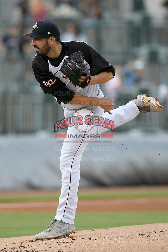 Starting pitcher Colin Holderman (11) of the Columbia Fireflies delivers a pitch in a game against the Lexington Legends on Thursday, June 13, 2019, at Segra Park in Columbia, South Carolina. Lexington won, 10-5. (Tom Priddy/Four Seam Images)
