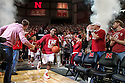 March 9, 2014: Benny Parker (3) of the Nebraska Cornhuskers leads the Huskers on to the court to take on the Wisconsin Badgers at the Pinnacle Bank Arena, Lincoln, NE. Nebraska 77 Wisconsin 68.