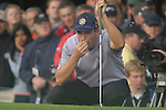 23rd September, 2006. .European Ryder Cup Team player Padraig Harrington Lines up his putt on the 9th green during the afternoon foursomes session of the second day of the 2006 Ryder Cup at the K Club in Straffan, County Kildare in the Republic of Ireland..Photo: Eoin Clarke/ Newsfile.