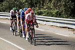 The breakaway featuring Stephane Rossetto (FRA) Cofidis, Paul Ourselin (FRA) Total Direct Energie, Alexis Gougeard (FRA) AG2R La Mondiale, Lukasz Wisniowski (POL) CCC Team and Lars Ytting Bak (DEN) Dimension Data during Stage 16 of the 2019 Tour de France running 177km from Nimes to Nimes, France. 23rd July 2019.<br /> Picture: ASO/Pauline Ballet | Cyclefile<br /> All photos usage must carry mandatory copyright credit (© Cyclefile | ASO/Pauline Ballet)