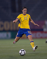 Sweden midfielder Therese Sjogran (15). The US Women's national team beat Sweden, 3-0, at Rentschler Field on July 17, 2010.