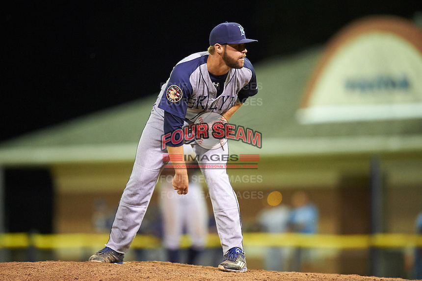 Brooklyn Cyclones relief pitcher Adam Atkins (43) during a game against the Batavia Muckdogs on July 5, 2016 at Dwyer Stadium in Batavia, New York.  Brooklyn defeated Batavia 5-1.  (Mike Janes/Four Seam Images)