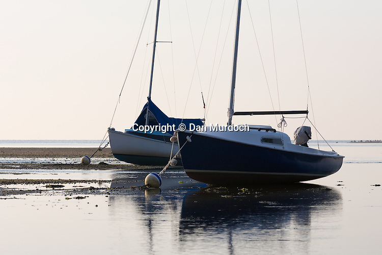 Two small sailboats aground at their moorings during low tide