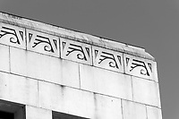 Art Deco Egyptian Revival decoration on the roof of the Vancouver City Hall building completed in 1936, Vancouver, British Columbia, Canada