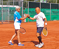 Netherlands, Amstelveen, August 23, 2015, Tennis,  National Veteran Championships, NVK, TV de Kegel,  Final mixed double 65+, Wil Baks and her partner Soen Lim<br /> Photo: Tennisimages/Henk Koster