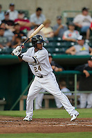 San Antonio Missions shortstop Jeudy Valdez (24) at bat in the Texas League baseball game against the Frisco Roughriders on August 22, 2013 at the Nelson Wolff Stadium in San Antonio, Texas. Frisco defeated San Antonio 2-1. (Andrew Woolley/Four Seam Images)