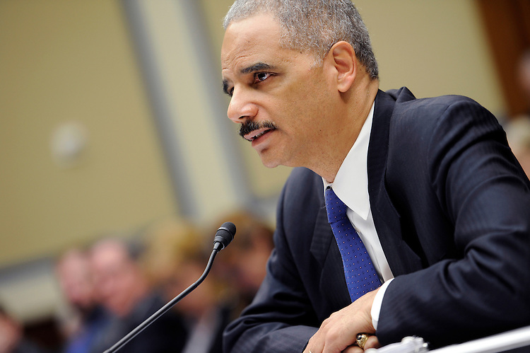 "UNITED STATES - FEBRUARY 2: Attorney General Eric Holder testifies at a House Oversight and Government Reform Committee hearing on ""Fast & Furious: Management Failures at the Department of Justice."" (Photo By Chris Maddaloni/CQ Roll Call)"