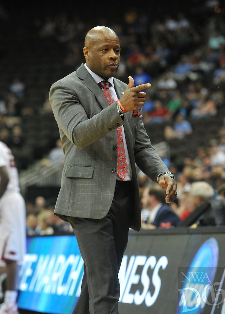 NWA Democrat-Gazette/Michael Woods --03/19/2015--w@NWAMICHAELW... University of Arkansas coach Mike Anderson watches his team in the second half of Thursday nights 56-53 win against the Wofford Terriers in the 2015 NCAA basketball tournament at Jacksonville Veterans Memorial Arena in Jacksonville, Florida.
