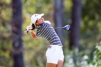 CHAPEL HILL, NC - OCTOBER 11: Julia Gregg of the University of Arkansas tees off at UNC Finley Golf Course on October 11, 2019 in Chapel Hill, North Carolina.