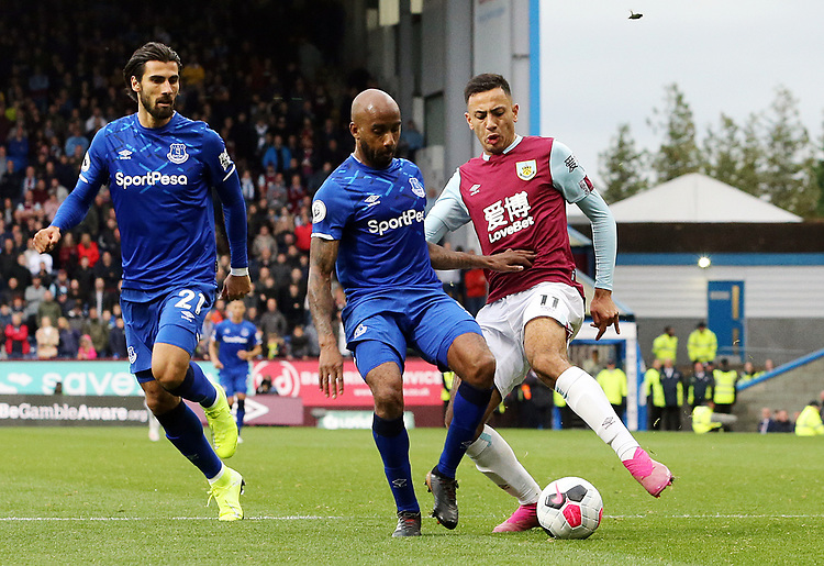 Burnley's Dwight McNeil is tackled by Everton's Fabian Delph<br /> <br /> Photographer Rich Linley/CameraSport<br /> <br /> The Premier League - Burnley v Everton - Saturday 5th October 2019 - Turf Moor - Burnley<br /> <br /> World Copyright © 2019 CameraSport. All rights reserved. 43 Linden Ave. Countesthorpe. Leicester. England. LE8 5PG - Tel: +44 (0) 116 277 4147 - admin@camerasport.com - www.camerasport.com