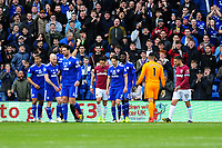 Javier Hernández of West Ham United is shown a yellow card for a dive during the Premier League match between Cardiff City and West Ham United at Cardiff City Stadium in Cardiff, Wales, UK. Saturday 09 March 2019
