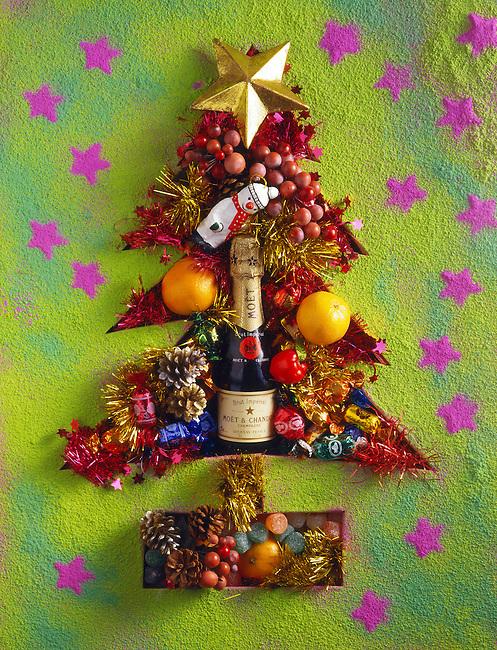 Christmas tree made up of festive christmas gifts and santas