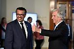 20171018/ Nicolas Celaya - adhocFOTOS/ URUGUAY/ MONTEVIDEO/ EDIFICIO MERCOSUR/ Inauguracion de la Conferencia de la Organizaci&oacute;n Mundial de la Salud sobre las Enfermedades No Transmisibles, en el edificio Mercosur. <br /> En la foto: Tedros Adhanom Ghebreyesus y Tabare Vazquez durante la inauguracion de la Conferencia de la Organizaci&oacute;n Mundial de la Salud sobre las Enfermedades No Transmisibles, en el edificio Mercosur. Foto: Nicol&aacute;s Celaya /adhocFOTOS