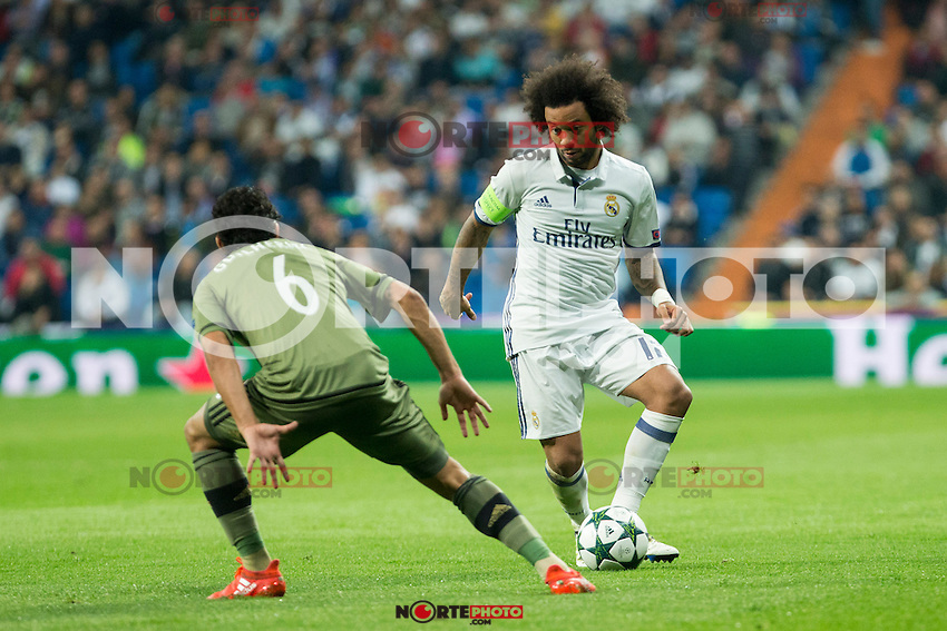 Legia Warszawa's Guilherme Real Madrid's Marcelo Vieira during the match of UEFA Champions League group stage between Real Madrid and Legia de Varsovia at Santiago Bernabeu Stadium in Madrid, Spain. October 18, 2016. (ALTERPHOTOS/Rodrigo Jimenez) /NORTEPHOTO.COM