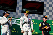 17th March 2019, Melbourne Grand Prix Circuit, Melbourne, Australia; Melbourne Formula One Grand Prix, race day; Lewis Hamilton, Valtteri Bottas, Max Verstappen on the podium