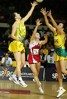 16.11.2007 England's Karen Atkinson and Australian Natalie Von Bertouch and Liz Ellis in action during the Australia v England match at the New World Netball World Champs held at Trusts Stadium Auckland New Zealand. Mandatory Photo Credit ©Michael Bradley.