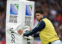 Replacement Sean Maitland of Scotland looks on from behind the posts. Rugby World Cup Pool B match between Scotland and Japan on September 23, 2015 at Kingsholm Stadium in Gloucester, England. Photo by: Patrick Khachfe / Onside Images