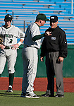 February 24, 2012:   Utah Valley Wolverines head coach Eric Madsen argus a balk call with third base umpire Wayne Neault during their NCAA baseball game against the Nevada Wolf Pack played at Peccole Park on Friday afternoon in Reno, Nevada.