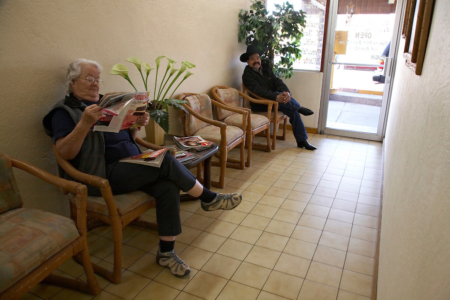 Dental patients in waiting room, Los Algodones, B.C, Mexico.