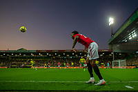 27th Ocotber 2019; Carrow Road, Norwich, Norfolk, England, English Premier League Football, Norwich versus Manchester United; Aaron Wan-Bissaka of Manchester Utd takes a throw in - Strictly Editorial Use Only. No use with unauthorized audio, video, data, fixture lists, club/league logos or 'live' services. Online in-match use limited to 120 images, no video emulation. No use in betting, games or single club/league/player publications