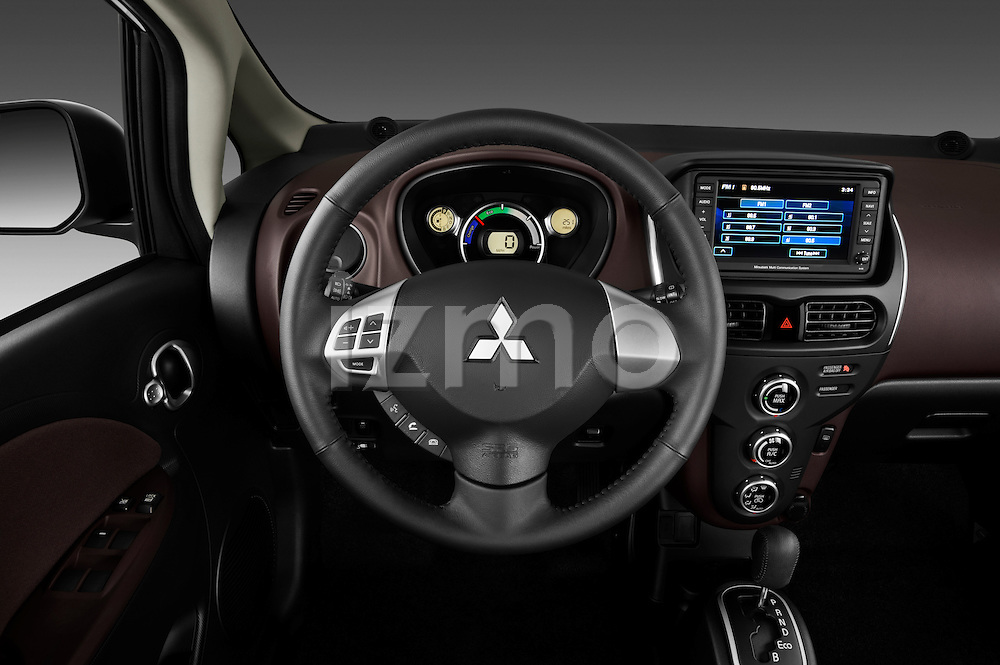 Steering wheel view of a 2012 Mitsubishi MiEV SE