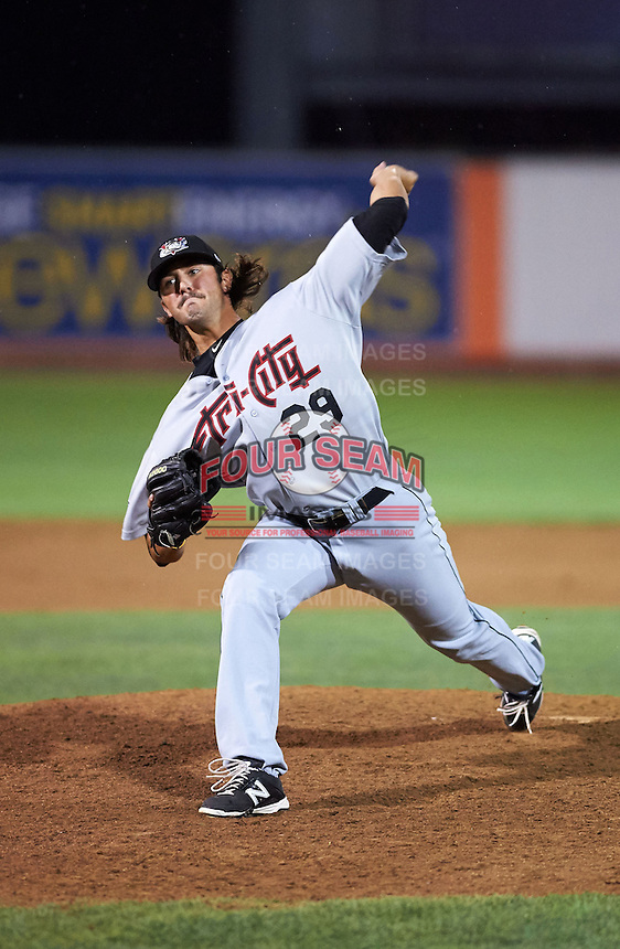 Tri-City ValleyCats pitcher Zac Person (29) delivers a pitch during a game against the Aberdeen Ironbirds on August 6, 2015 at Ripken Stadium in Aberdeen, Maryland.  Tri-City defeated Aberdeen 5-0 as Kevin McCanna, Ralph Garza and Person combined to throw a no-hitter.  (Mike Janes/Four Seam Images)