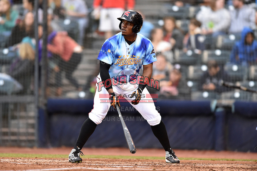 Richmond Flying Squirrels right fielder Carlos Moncrief (1) awaits a pitch during a game against the Hartford Yard Goats at The Diamond on April 30, 2016 in Richmond, Virginia. The Yard Goats defeated the Flying Squirrels 5-1. (Tony Farlow/Four Seam Images)