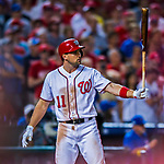 7 October 2017: Washington Nationals first baseman Ryan Zimmerman stands at bat moments before hitting his three-run, go-ahead home-run in the 8th inning of the second NLDS game against the Chicago Cubs at Nationals Park in Washington, DC. The Nationals defeated the Cubs 6-3 and even their best of five Postseason series at one game apiece. Mandatory Credit: Ed Wolfstein Photo *** RAW (NEF) Image File Available ***