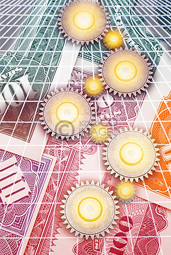 INTERLOCKING COG GEARS ON GRID OVER PAPER STOCK AND BOND CERTIFICATES