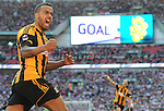 Hull City's Tom Huddlestone celebrates scoring his sides third goal  <br /> <br /> Photo by Ian Cook/CameraSport<br /> <br /> Football - FA Challenge Cup Semi-Final - Hull City v Sheffield United - Sunday 13th April 2014 - Wembley Stadium - London<br /> <br />  &copy; CameraSport - 43 Linden Ave. Countesthorpe. Leicester. England. LE8 5PG - Tel: +44 (0) 116 277 4147 - admin@camerasport.com - www.camerasport.com