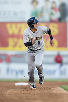 Billy Fleming (8) of the Charleston RiverDogs hustles towards third base against the Hickory Crawdads at L.P. Frans Stadium on August 25, 2015 in Hickory, North Carolina.  The Crawdads defeated the RiverDogs 7-4.  (Brian Westerholt/Four Seam Images)